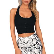 Load image into Gallery viewer, Button Low-Cut Crop Top Tank Top in Black or White