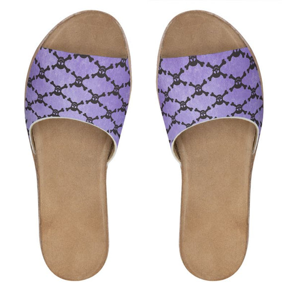 Purple Skull And Crossbones Women's Leather Sliders
