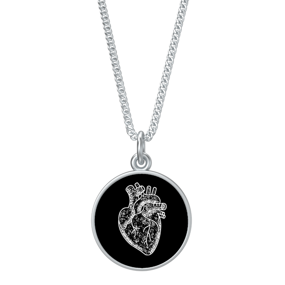 Anatomical heart coin pendant on chain