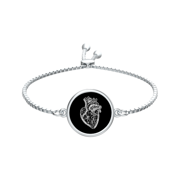 Anatomical heart coin slider bracelet