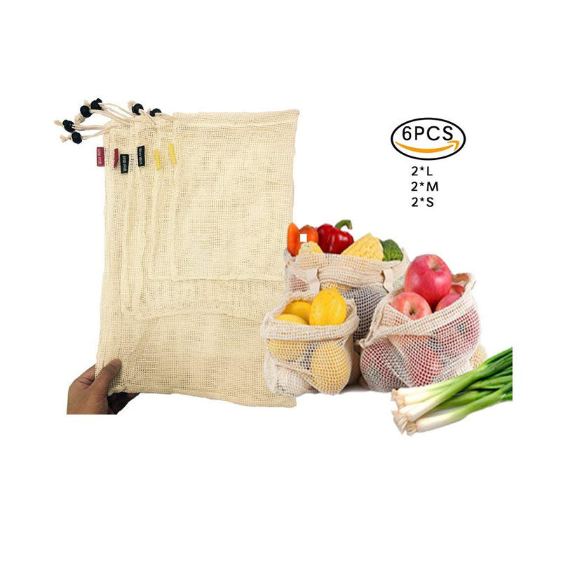 Reusable Cotton Produce Pouches | 6 Piece Set
