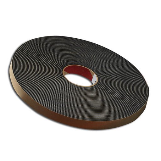 "3/8"" Thick Neoprene Foam Strip, 1"" Width x 25' Length, Black, Rubber Adhesive"