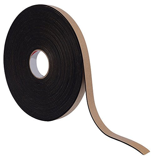 "1/8"" Thick EPDM Foam Strip, 3/4"" Width x 50' Length, Black, Acrylic Adhesive"
