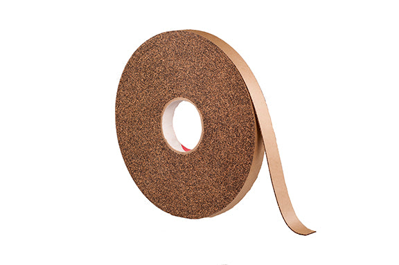 "1/32"" Thick Cork Rubber Tape, 3"" Width x 100' Length, Acrylic Adhesive With Cloth"