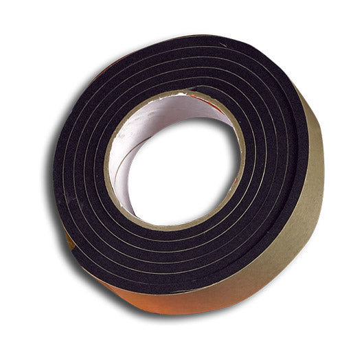 "1"" Thick Neoprene Foam Strip, 1"" Width x 25' Length, Black, Rubber Adhesive"