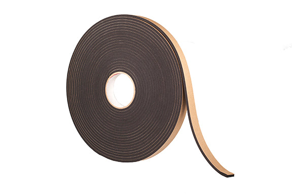 "1/2"" Thick Neoprene Foam Strip, 3/4"" Width x 25' Length, Black, Rubber Adhesive"