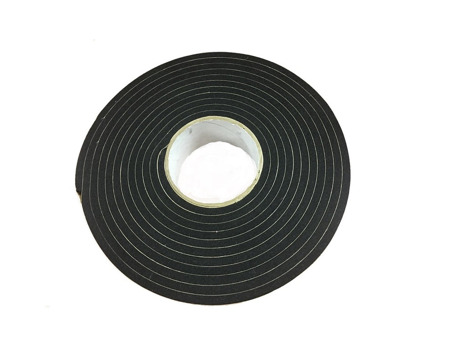 "1/4"" Thick Polyethylene Foam Strip, 3/4"" Width x 50' Length, Black, Rubber Adhesive"