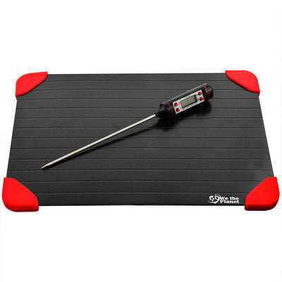 Defrosting Tray And Food Thermometer Bundle - Perfect for Thawing Frozen Meats Quickly and Safely - Easily Check Food Temperature After Cooking