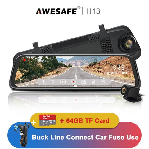 10in touchscreen rear view mirror dual lens