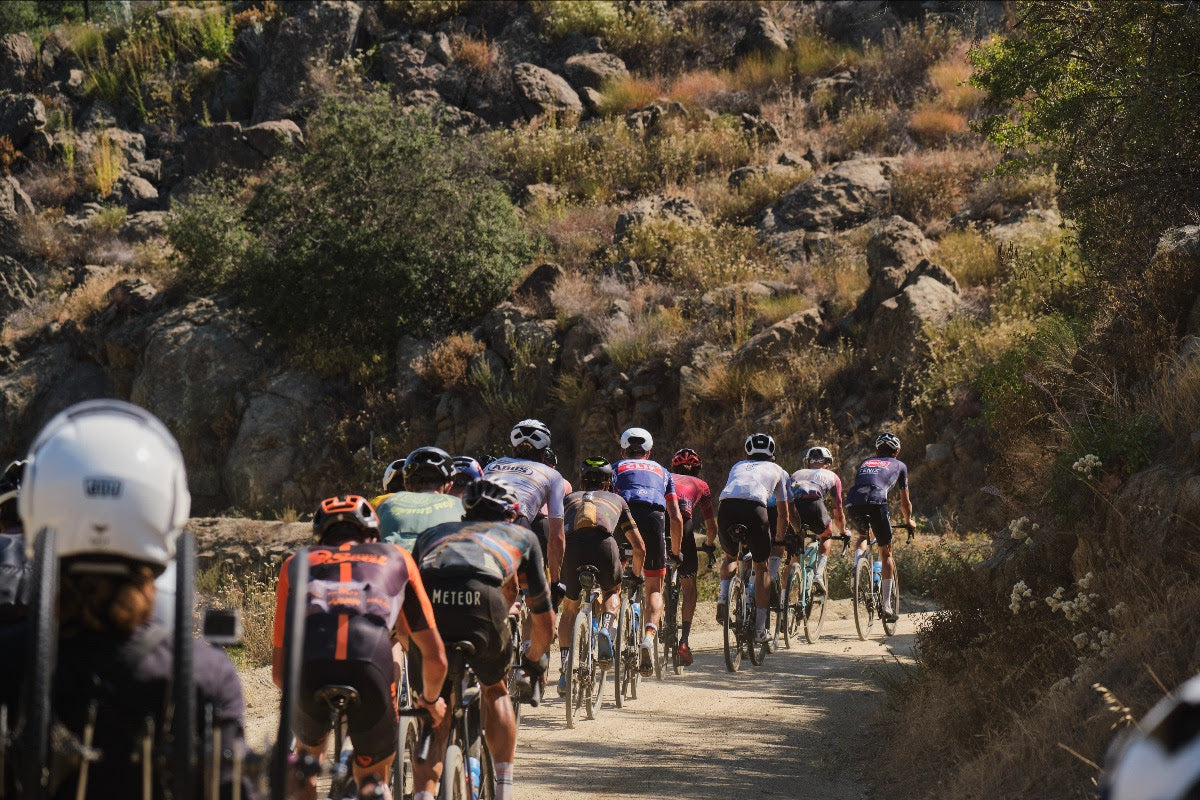 The peloton chasing the breakaway riders up Black Canyon, where the temperature would reach 100 degrees later in the day.