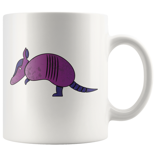 Funny Purple Armadillo Coffee Mug Cute Animal Pose - Hundredth Monkey Tees