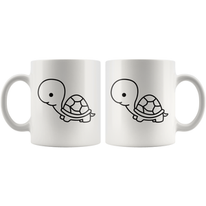 Cute Baby Turtle Coffee Mug Simple Black and White Cartoon Design Pet Wildlife Lover - Hundredth Monkey Tees