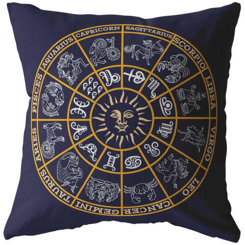 Astrology Throw Pillow Deep Blue Zodiac Wheel Horoscope Signs Floor Cushion - Hundredth Monkey Tees
