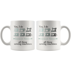 Retro Sewing Machine Collectors Coffee Mug Funny Hobby Addict Gift - Hundredth Monkey Tees