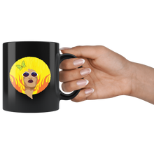 Load image into Gallery viewer, African American Queen Coffee Mug Vintage Retro Yellow Afro Fire - Hundredth Monkey Tees