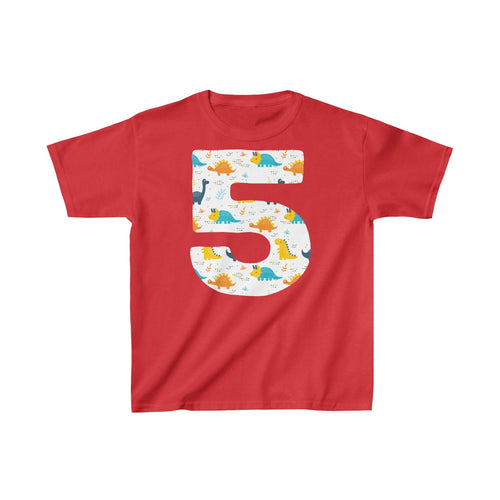 Youth Shirt Number #5 Years Old Dinosaurs T-Shirt Birthday Five