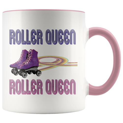 Roller Queen Skating Coffee Mug Vintage Style Skates Rainbows - Hundredth Monkey Tees