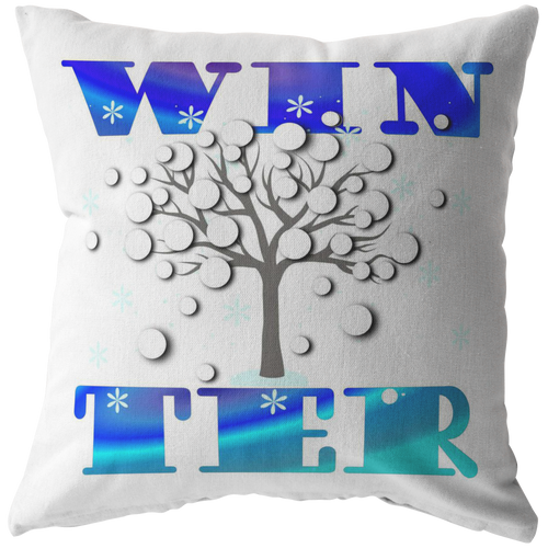 Winter Throw Pillow Word Art Seasonal Gift - Hundredth Monkey Tees