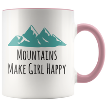 Load image into Gallery viewer, Mountains Make Girl Happy Coffee Mug for Hikers Bikers Wilderness Lovers - Hundredth Monkey Tees
