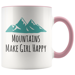 Mountains Make Girl Happy Coffee Mug for Hikers Bikers Wilderness Lovers - Hundredth Monkey Tees