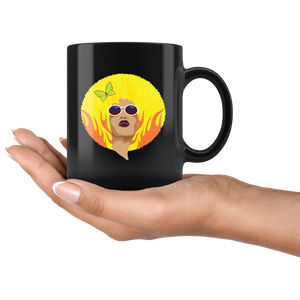 African American Queen Coffee Mug Vintage Retro Yellow Afro Fire - Hundredth Monkey Tees