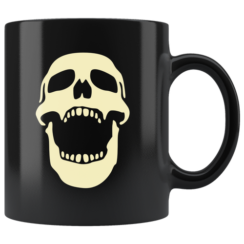 Laughing Skull Coffee Mug Skeleton Halloween Cool Art Cup - Hundredth Monkey Tees