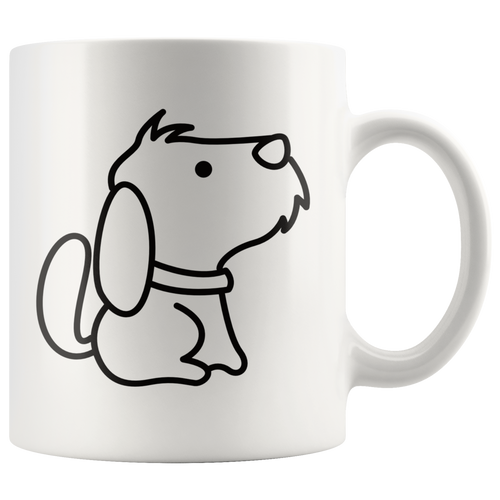 Cute Puppy Dog Coffee Mug Simple Black and White Cartoon Design Pet Lover - Hundredth Monkey Tees