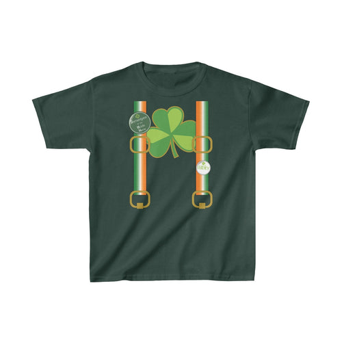 Youth St Patricks Day Tshirt Suspenders Party Shirt Funny Kids Heavy Cotton Tee