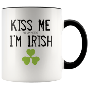Kiss Me (We Can Pretend) I'm Irish Funny St Patricks Day Coffee Mug - Hundredth Monkey Tees