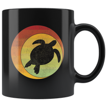 Load image into Gallery viewer, Retro Sea Turtle Coffee Mug Geometric Eclipse Grunge Distressed Style - Hundredth Monkey Tees