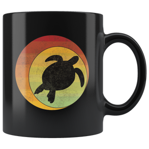 Retro Sea Turtle Coffee Mug Geometric Eclipse Grunge Distressed Style - Hundredth Monkey Tees