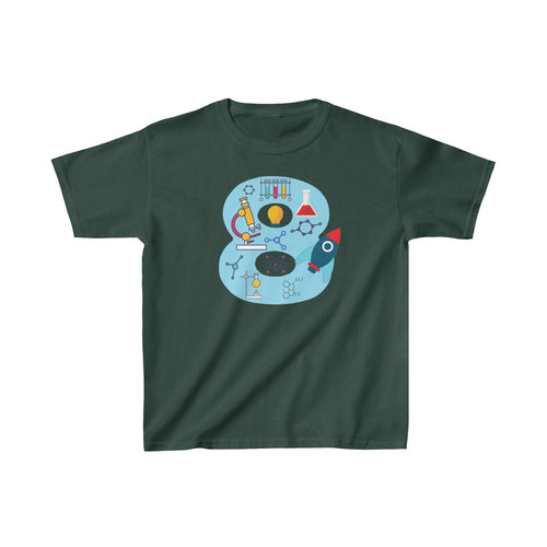 Youth Blue Number #8 Years Old Shirt Science Birthday Kids Heavy Cotton Tee