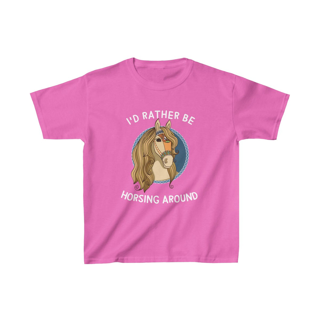 Youth Shirt I'd Rather Be Horsing Around Cute Horse Lovers T-shirt - Hundredth Monkey Tees