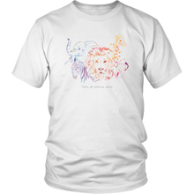 Load image into Gallery viewer, We're All a Bunch of Animals Rainbow Wild African Nature T Shirt - Hundredth Monkey Tees