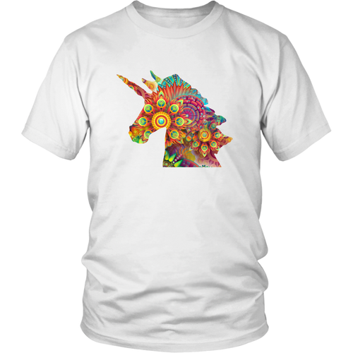 Unicorn Colorful Shirt, Fractals, Geometric Design - Hundredth Monkey Tees