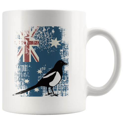 Australian Flag Magpie Funny Coffee Mug Patriotic Distressed Unisex Tee - Hundredth Monkey Tees