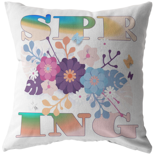 Spring Throw Pillow Word Art Seasonal Gift - Hundredth Monkey Tees