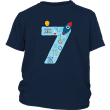Load image into Gallery viewer, Youth Blue Number #7 Years Old Shirt Science Birthday Kids Cotton Tee
