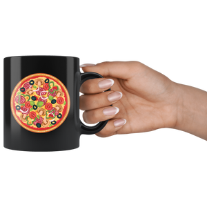 Loaded Round Pizza Pie with Everything Olives Pepperoni Coffee Mug - Hundredth Monkey Tees