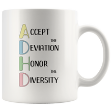 Load image into Gallery viewer, ADHD Coffee Mug Empowerment Neurodiversity Awareness Celebration - Hundredth Monkey Tees