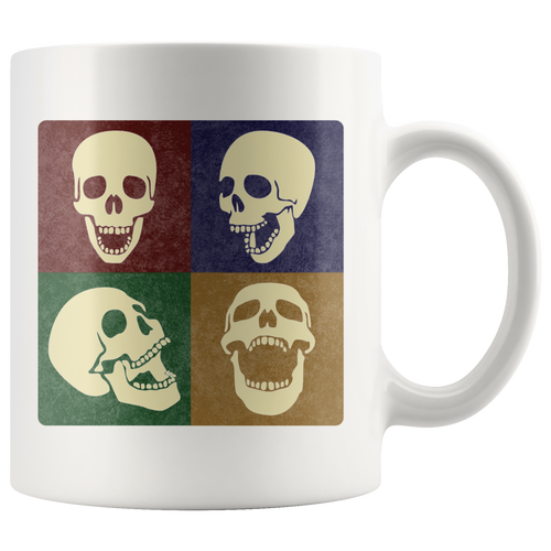 Skulls Pop Art Coffee Mug 4 Squares Funny Laughing Skeleton Cup - Hundredth Monkey Tees
