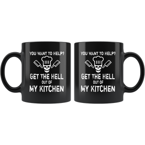Get Out of My Kitchen Funny Sarcastic Chef Cook Coffee Mug - Hundredth Monkey Tees