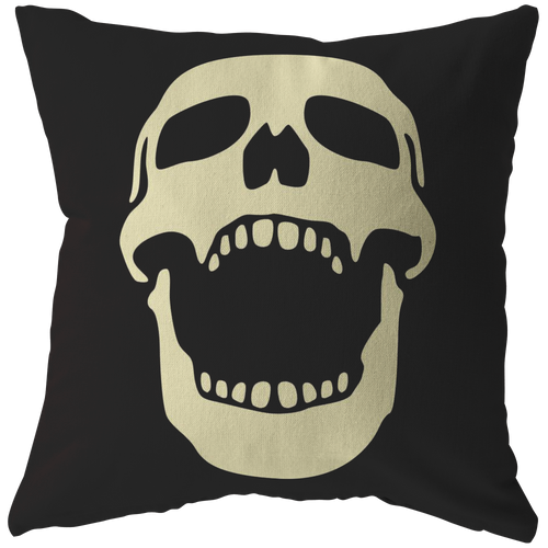 Laughing Skull Throw Pillow Skeleton Halloween Cool Art Cover - Hundredth Monkey Tees