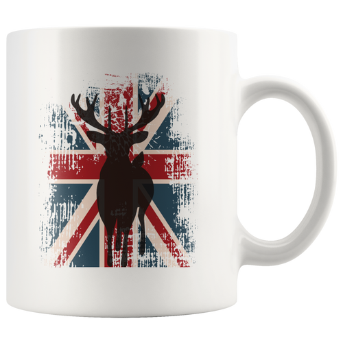 British UK Flag Deer Buck Coffee Mug Patriotic England Union Jack Distressed Unisex Tee - Hundredth Monkey Tees