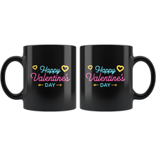 Load image into Gallery viewer, Happy Valentine's Day Coffee Mug Neon Sign Hearts Vday Cup - Hundredth Monkey Tees