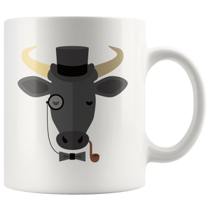 Cute Hipster Bull Coffee Mug Monocle Top Hat Funny Gift - Hundredth Monkey Tees