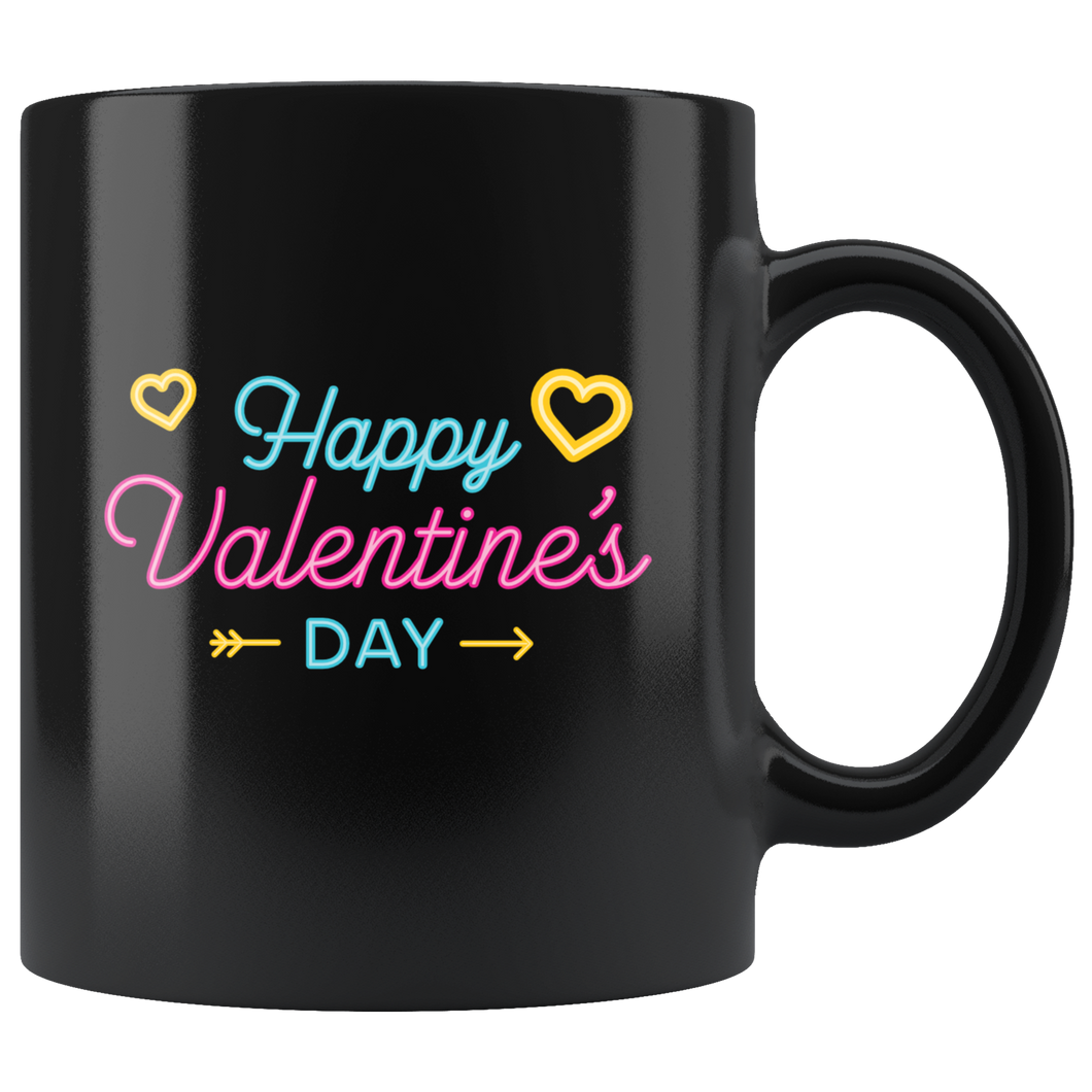 Happy Valentine's Day Coffee Mug Neon Sign Hearts Vday Cup - Hundredth Monkey Tees