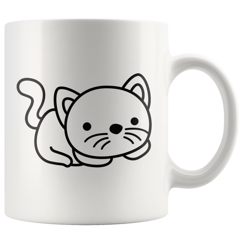 Cute Cat Coffee Mug Simple Black and White Cartoon Design Kitty Pet Lover - Hundredth Monkey Tees