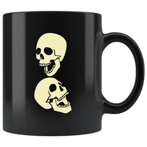 Two Laughing Skulls Coffee Mug Skeleton Halloween Cool Art Cup - Hundredth Monkey Tees