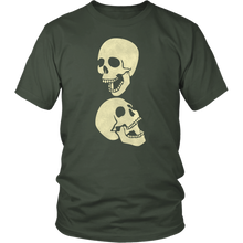 Load image into Gallery viewer, Two Laughing Skulls Tshirt Skeleton Distressed Grunge Halloween Graphic Tee - Hundredth Monkey Tees